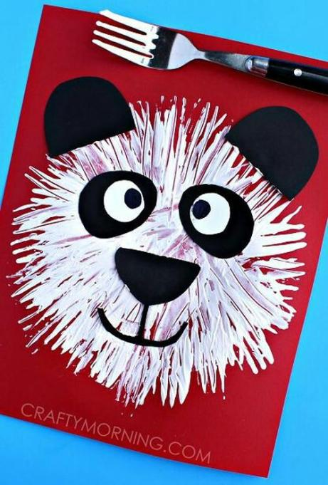 Fork print panda bear