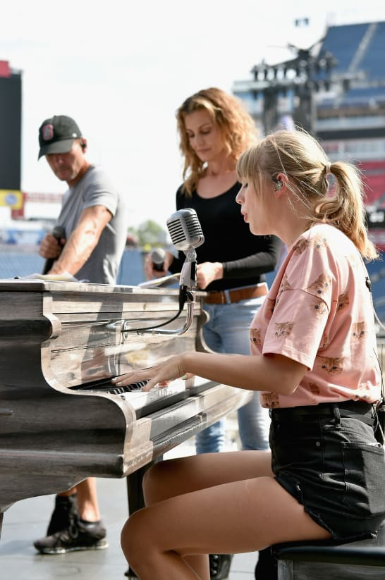 Tim McGraw, Faith Hill and Taylor Swift rehearse onstage for the Reputation Stadium Tour in Nashville, TN.