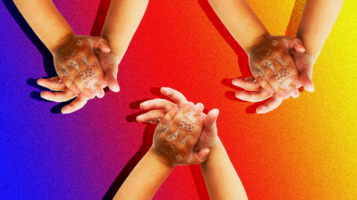 Three children washing hands with rainbow