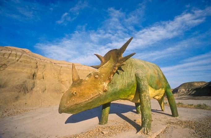 Dinosaur replica in Dinosaur Provincial Park, Canada