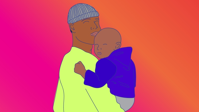 Illustration of Black Father and Young