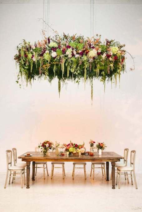 suspended floral arrangement with your centerpieces
