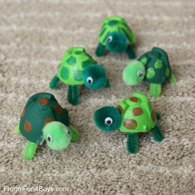 Egg carton turtles