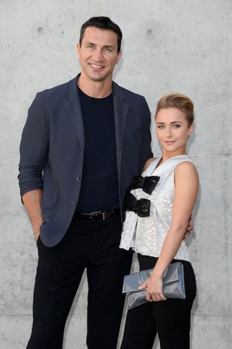 Wladimir Klitschko and Hayden Panettiere attend the Giorgio Armani show during Milan Menswear Fashion Week Spring Summer