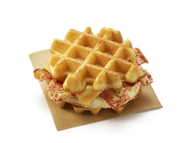 belgian waffle breakfast sandwich