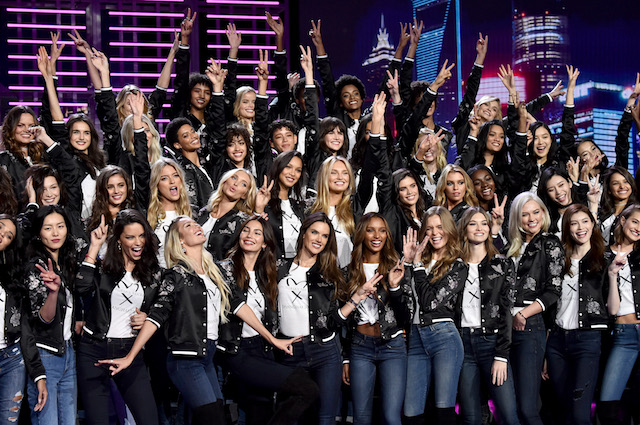 Victoria's Secret models pose during the All Model Appearance At Mercedes-Benz Arena