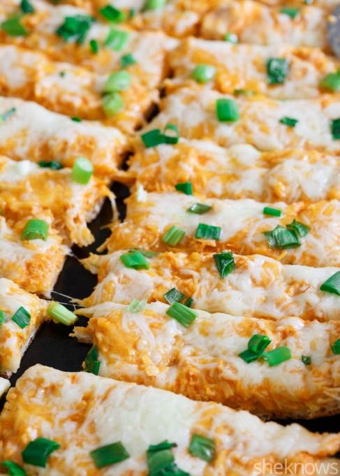 Buffalo chicken pizza breadsticks