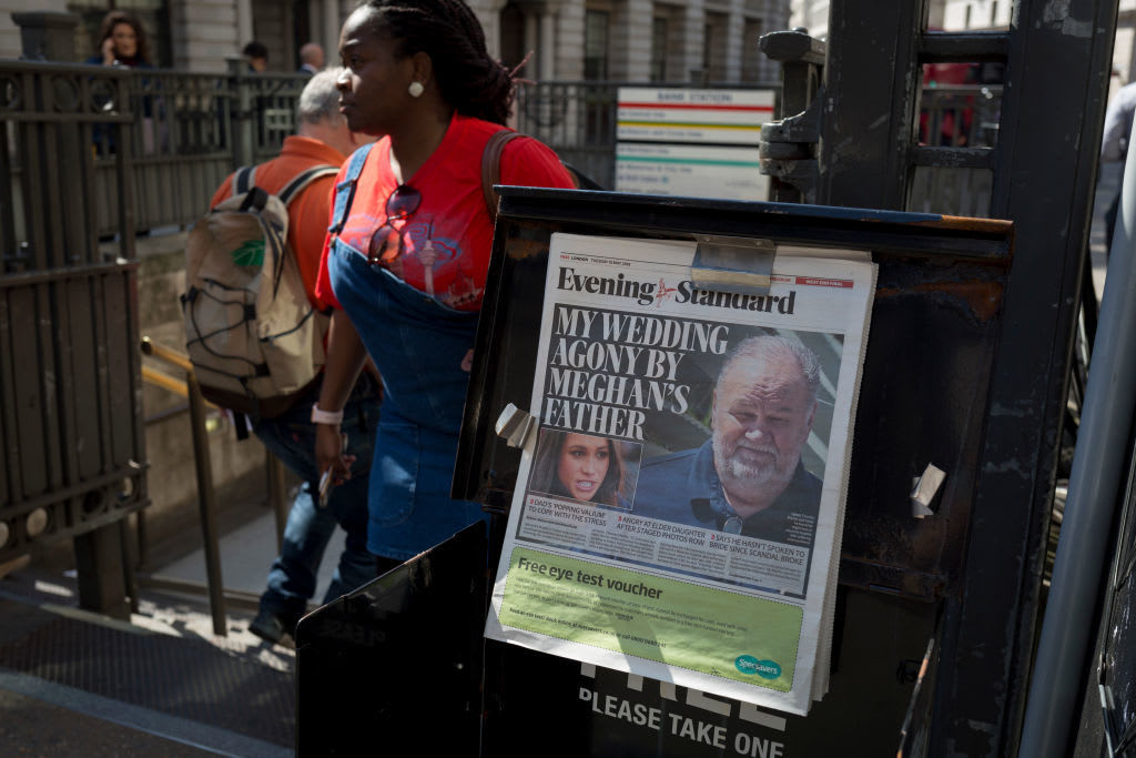 Evening Standard headlines with news of Meghan Markle's father