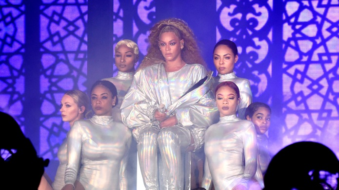 Beyonce performs on stage during the