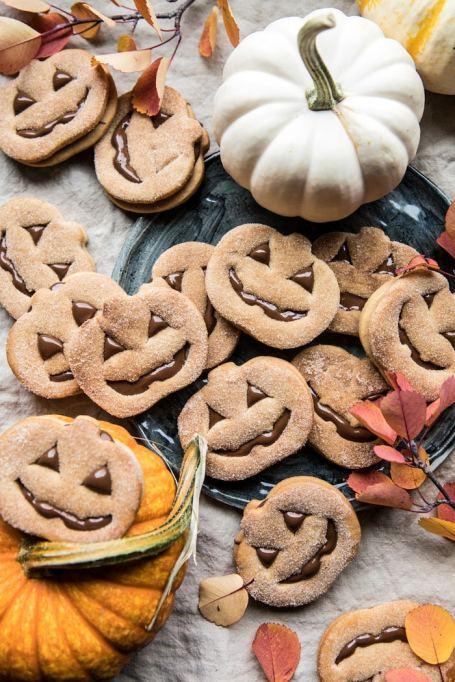 Milk chocolate-stuffed Jack O' Lantern cookies