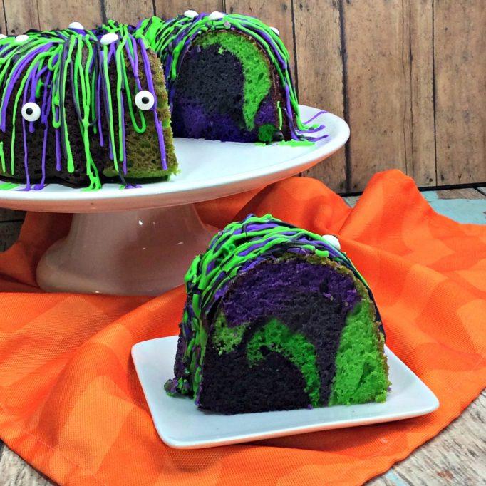 Halloween monster bundt cake