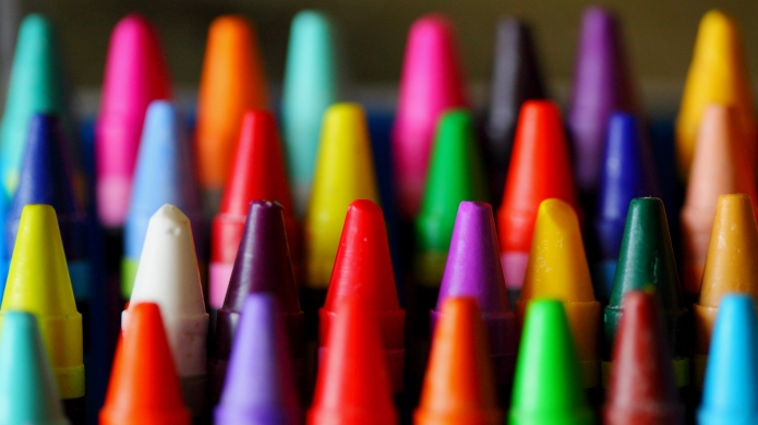 box of rainbow crayons