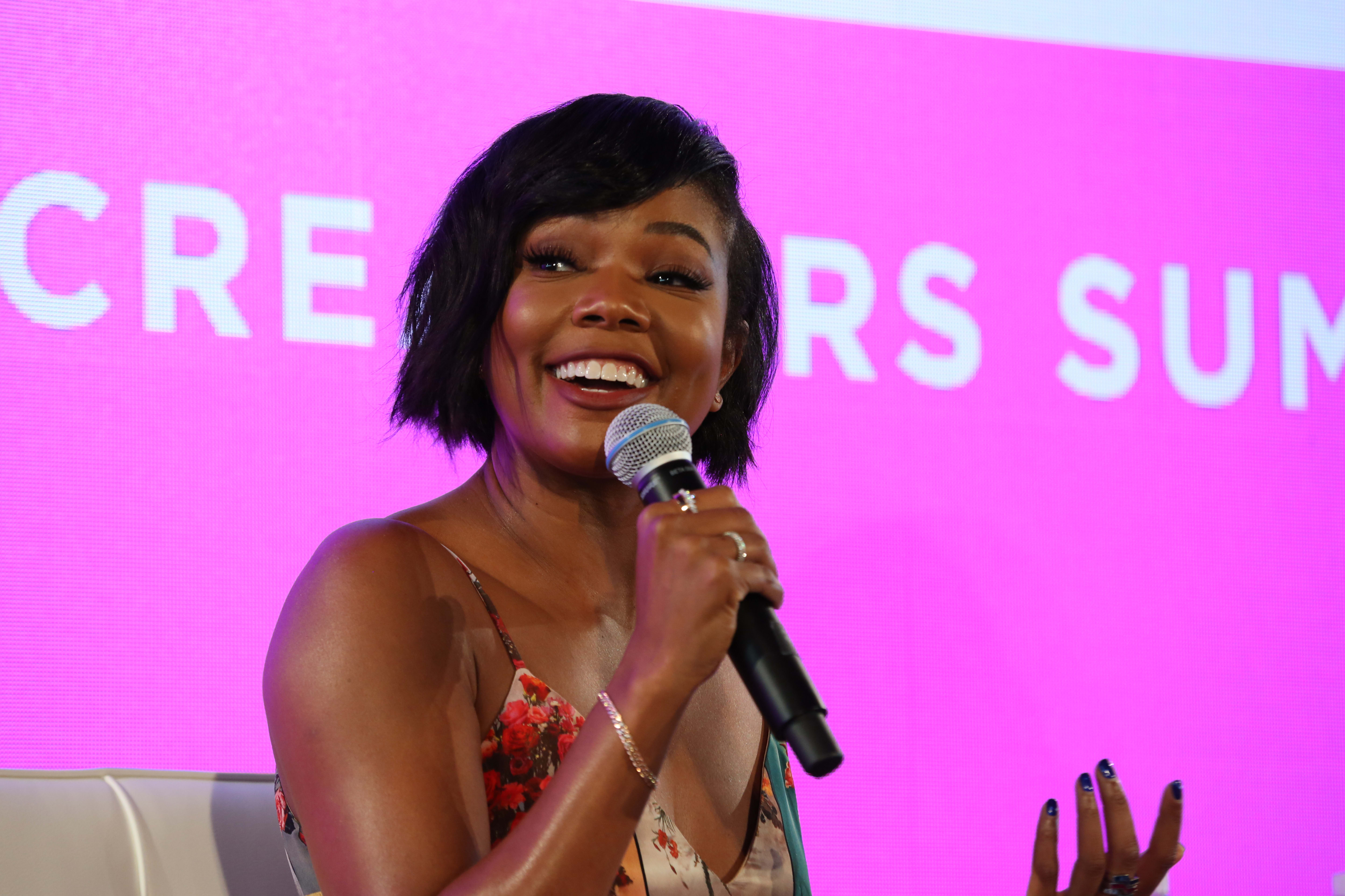 Gabrielle Union on stage at the BlogHer18 conference in New York
