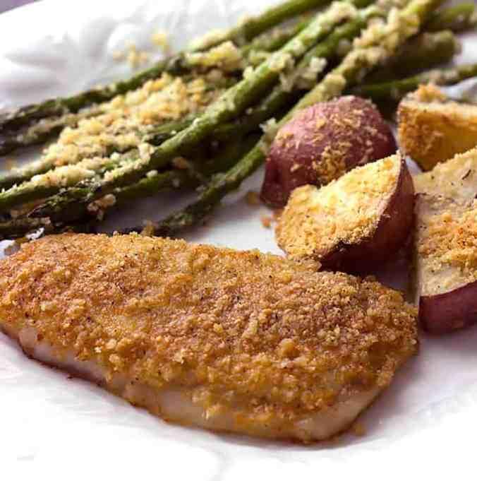 Sheet Pan Baked Parmesan Pork Chops, Potatoes, & Asparagus