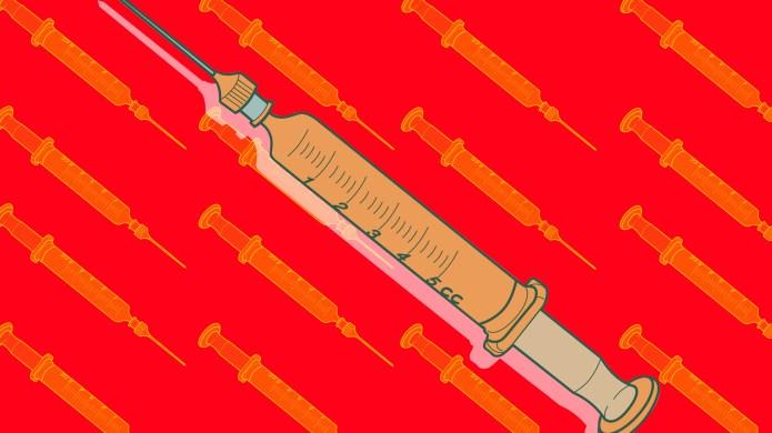 Large needle on red background