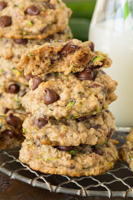 Zucchini-oat chocolate chip cookies