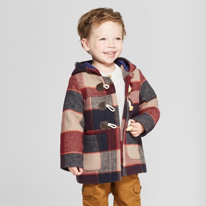 Plaid Faux Wool Toggle Coat