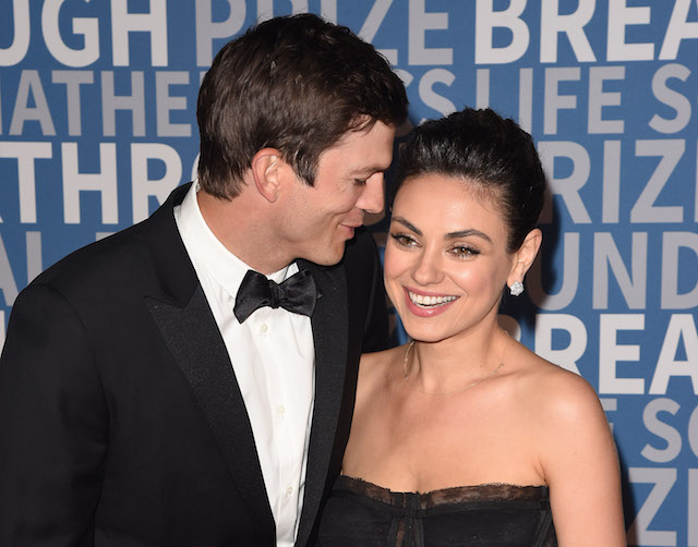 Ashton Kutcher and Mila Kunis attend the 2018 Breakthrough Prize at NASA Ames Research Center