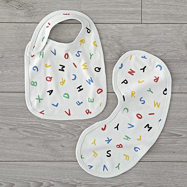 Organic Alphabet Bib and Burp Cloth Set