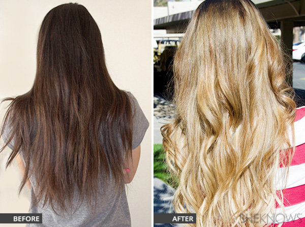 Side by side before and after for lightening hair