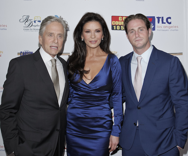 Michael Douglas, Catherine Zeta-Jones and Cameron Douglas attend the Los Angeles Mission Legacy of Vision Gala at Four Seasons Hotel