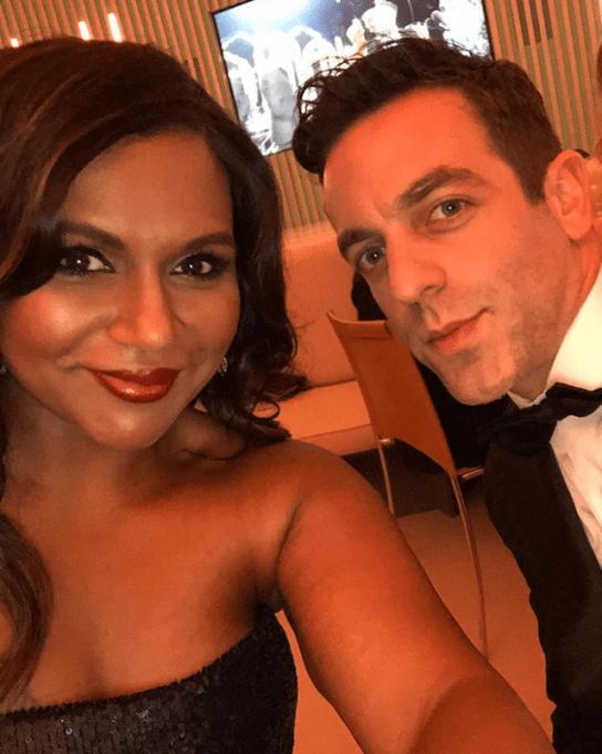 Mindy Kaling and BJ Novak posing for a selfie together