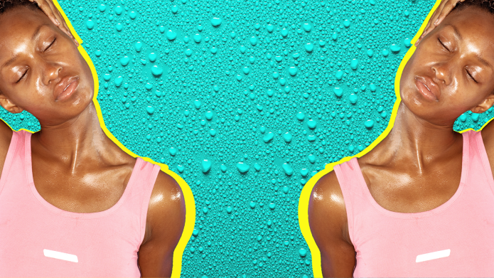 Woman glistening with sweat