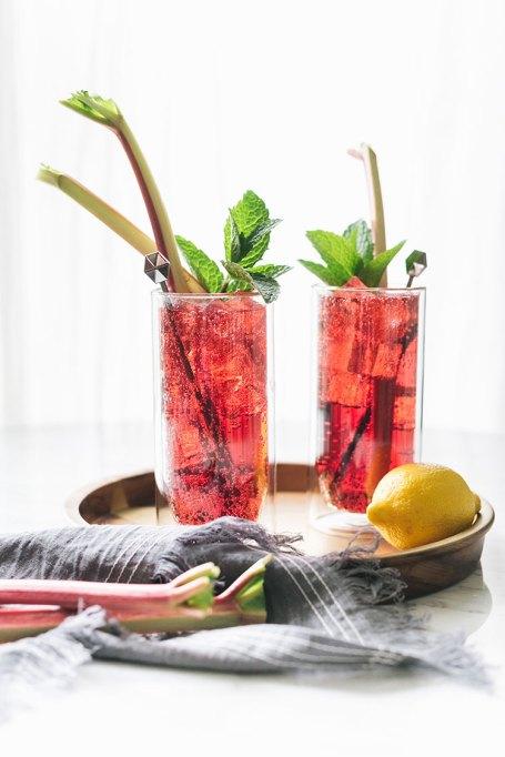 Rhubarb Pink Peppercorn Cocktail