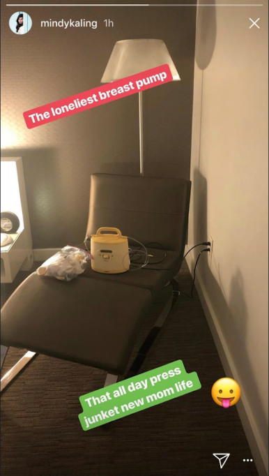 Screenshot of Mindy Kaling's breast pump on her Instagram Story