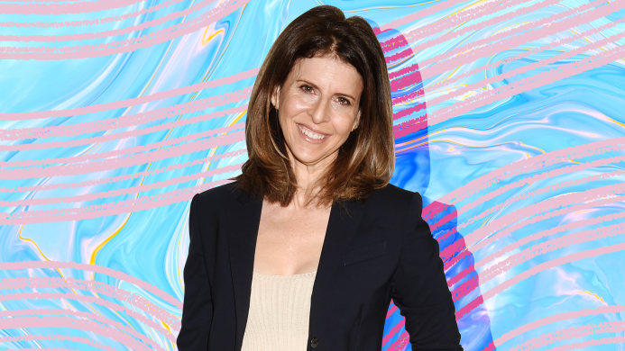 Amy Ziering on colorful background