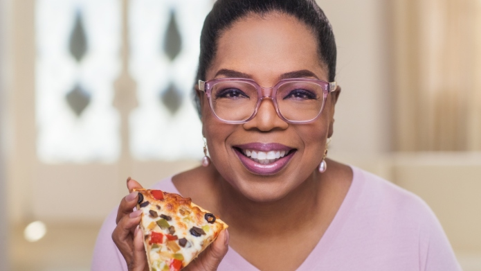 Oprah Winfrey with pizza