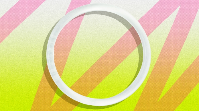 Annovera Contraceptive Ring Against Neon Background