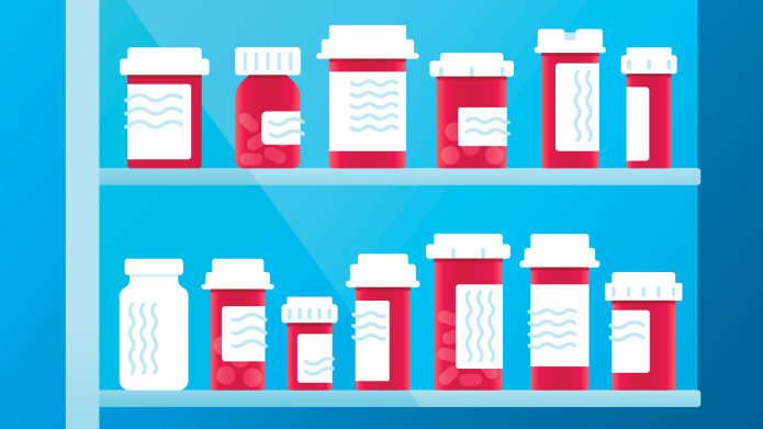Colorful bottles and medications.