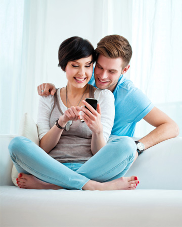Young couple on smartphone