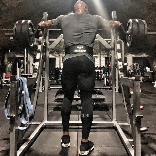 Dwayne Johnson at the gym in an Instagram