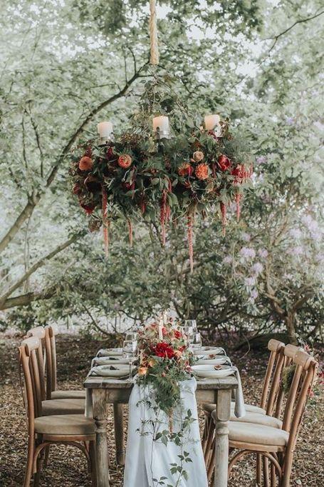 Suspended flower chandelier