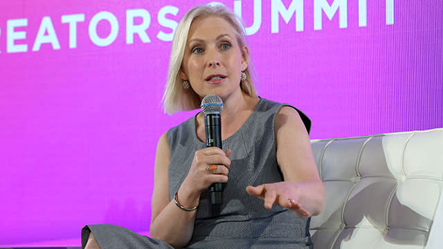 Senator Kirsten Gillibrand speaking on stage