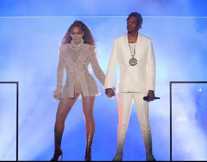 Beyoncé and Jay-Z on stage Instagram post