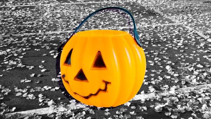 Trick or treating pumpkin on black
