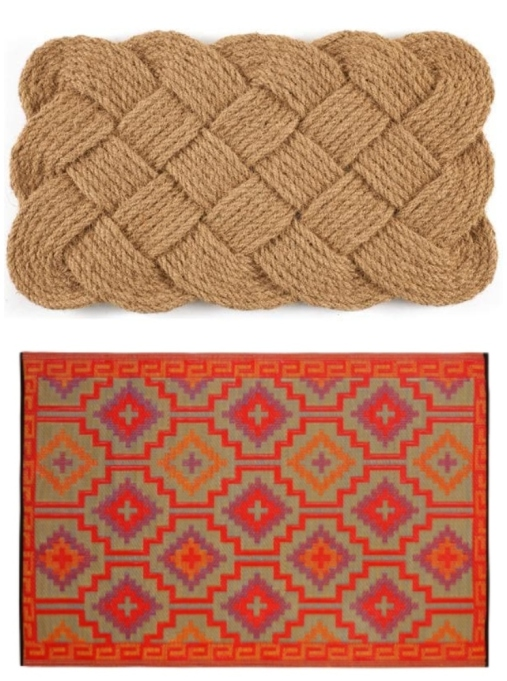 "Layered rug look featuring ""Knot-ical"" coconut fiber doormat and Loon Peak Patterson Square area rug."