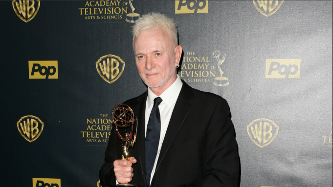 Anthony Geary holding Daytime Emmy