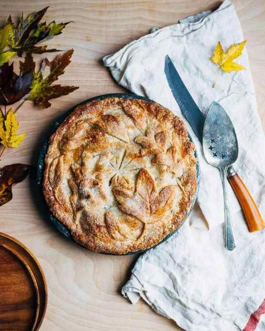 Asian Pear and Apple Pie with Leafy Crust