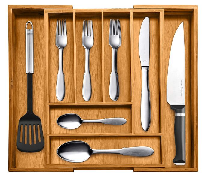Bamboo Expandable Utensil and Utility Drawer Organizer