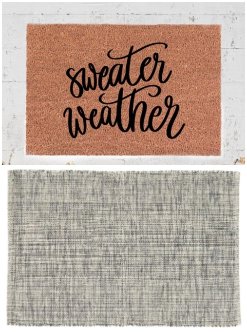 "Layered rug look featuring ""Sweater Weather"" rug and marled gray area rug."