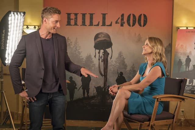 Kevin (Justin Hartley) does an interview with Today Show's Natalie Morales.