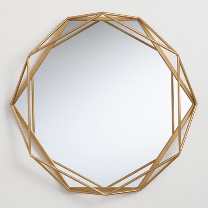 Round Geometric Gold Mirror