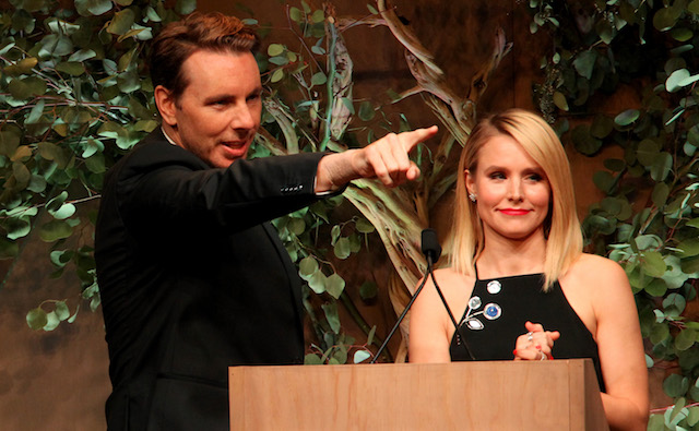 Dax Shepard and Kristen Bell speak onstage during the Fifth Annual Baby2Baby Gala.
