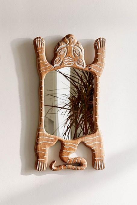 Tiger Wooden Mirror
