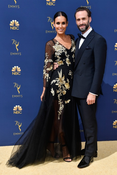 Maria Dolores Dieguez and Joseph Fiennes attend the 70th Emmy Awards at Microsoft Theater