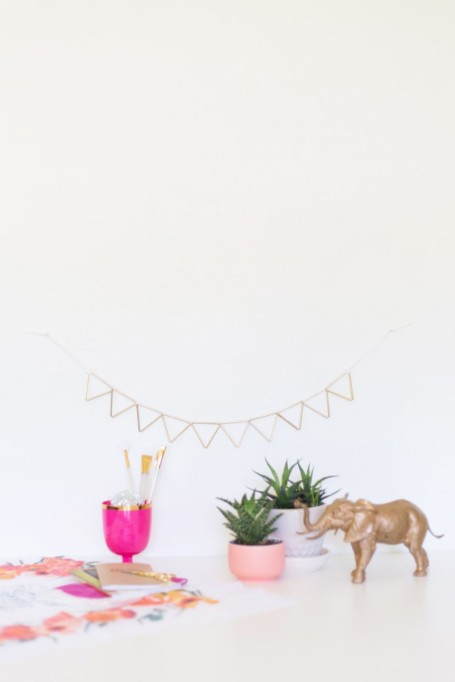 DIY Brass and Suede Geometric Garland